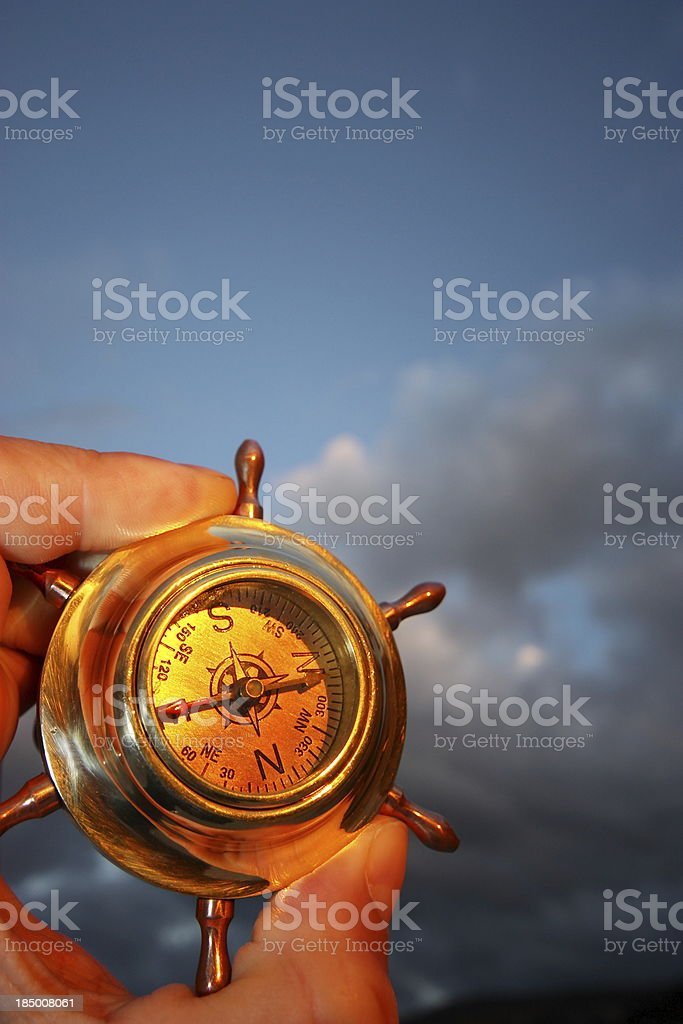 Hand holding compass royalty-free stock photo