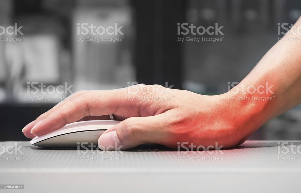 Hand holding computer mouse having wrist pain stock photo