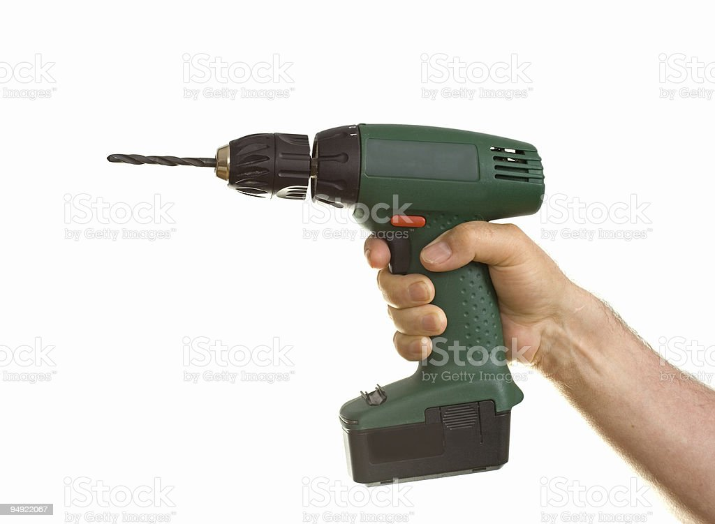 hand holding cordless drill royalty-free stock photo