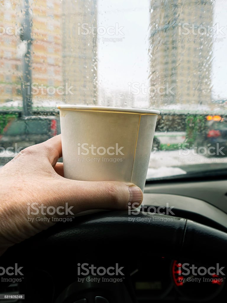 Hand Holding Cup stock photo