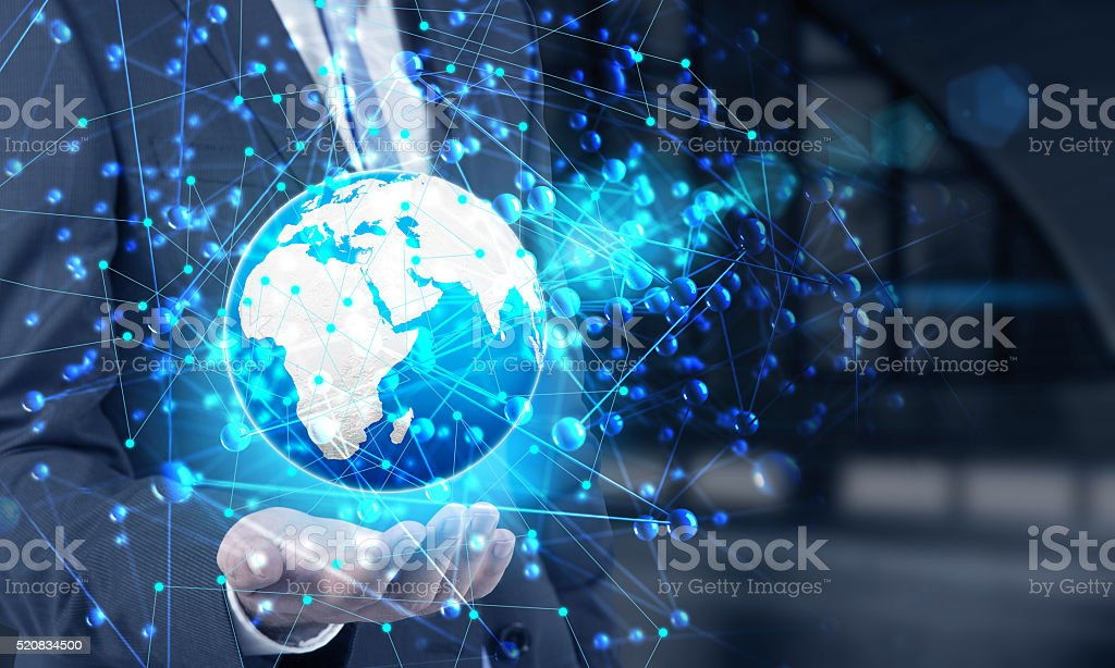 Hand holding digital globe stock photo