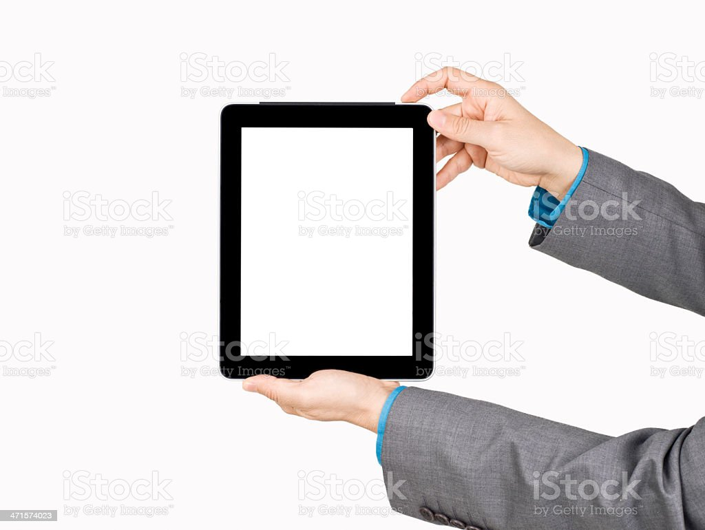 Hand holding digital tablet royalty-free stock photo