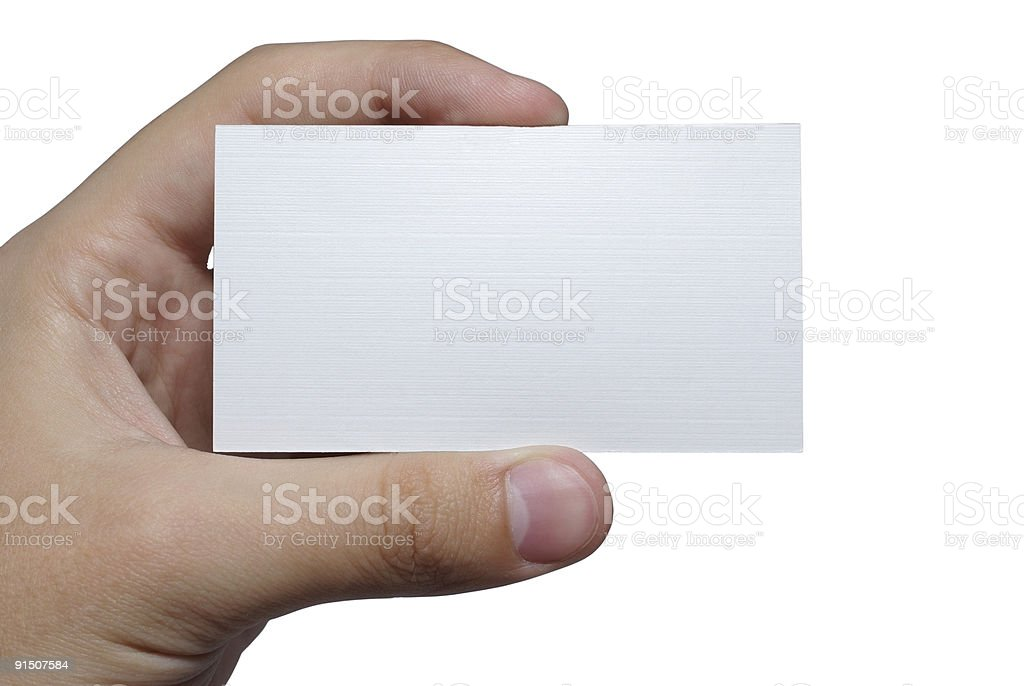 Hand holding empty business card. royalty-free stock photo