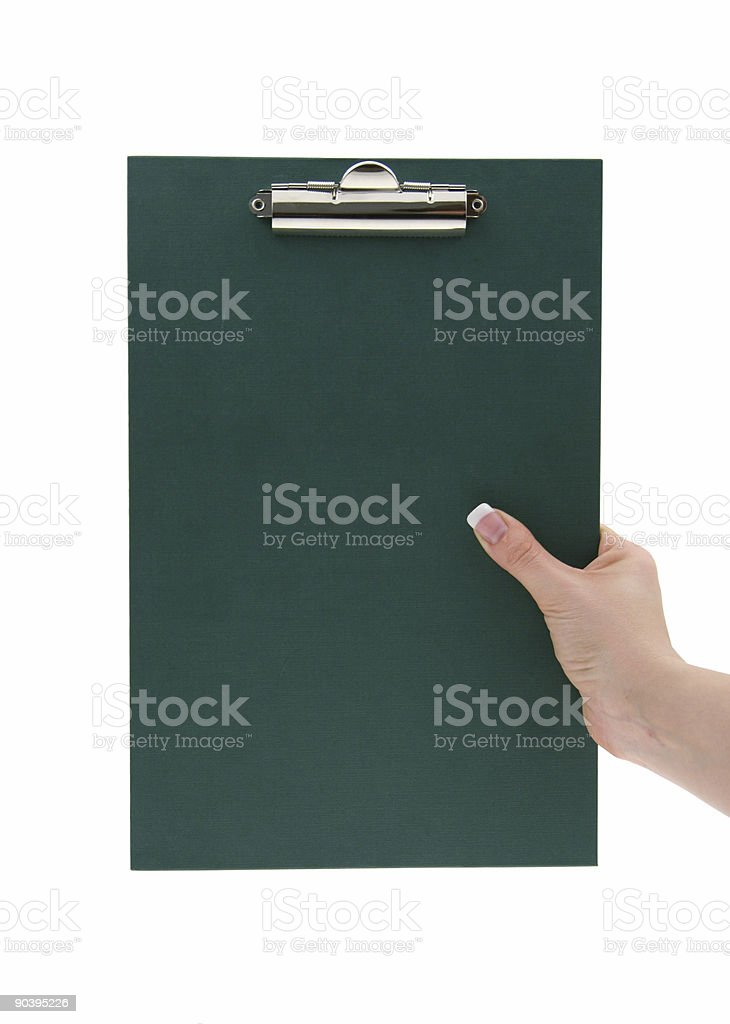 hand holding empty clipboard stock photo