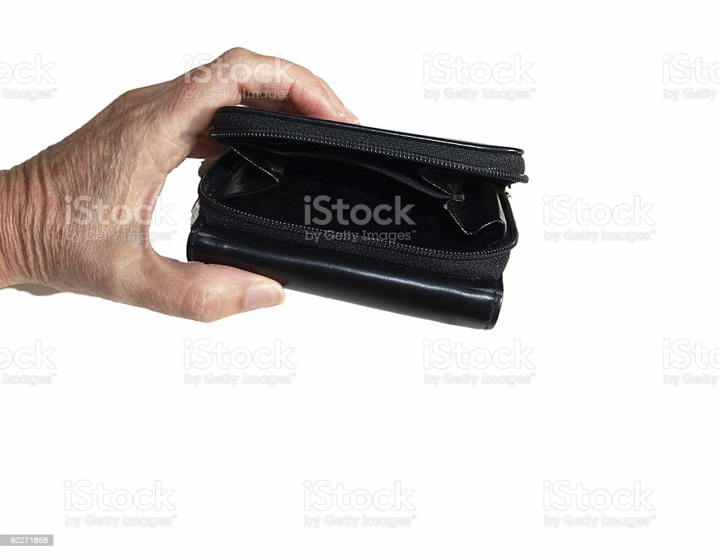 Hand holding empty purse stock photo