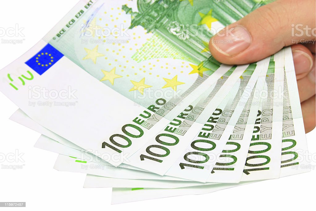 Hand holding euro notes (clipping path included) royalty-free stock photo