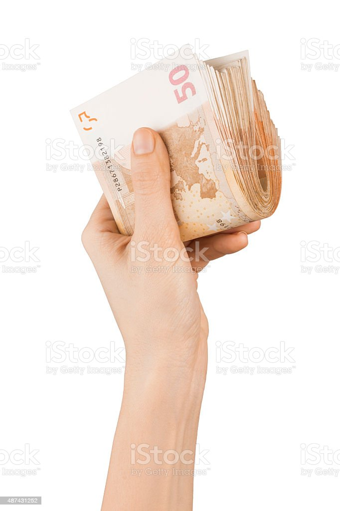 Hand Holding Fifty Euro Banknote stock photo