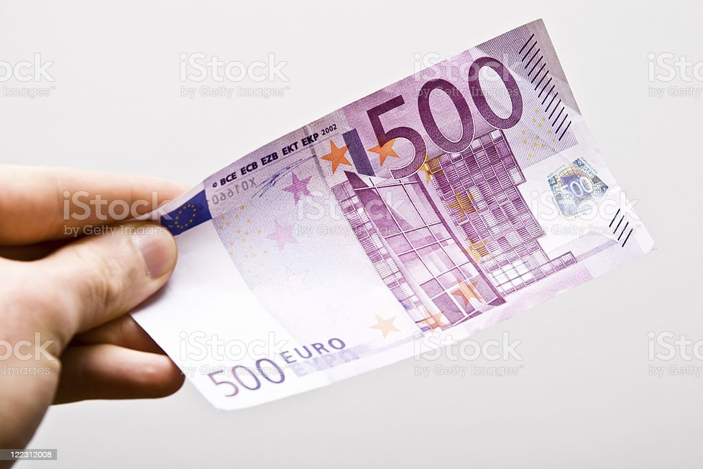Hand Holding Five Hundred Euro Banknote stock photo