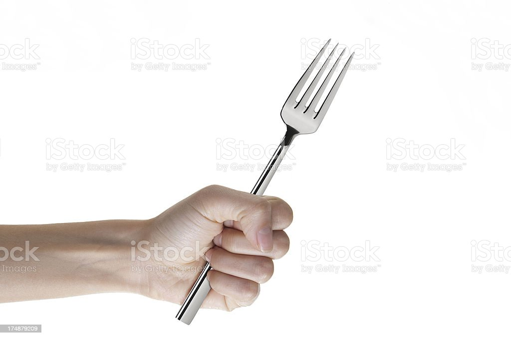Hand Holding Fork royalty-free stock photo