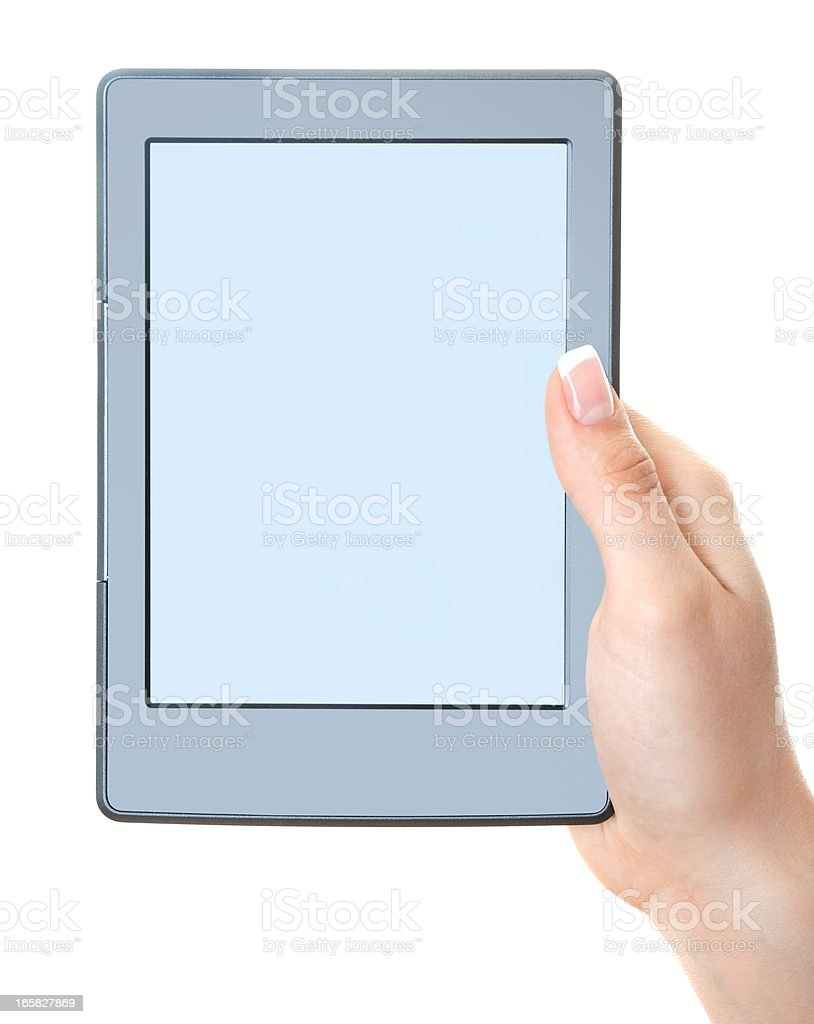 hand holding generic empty Ebook reader isolated royalty-free stock photo