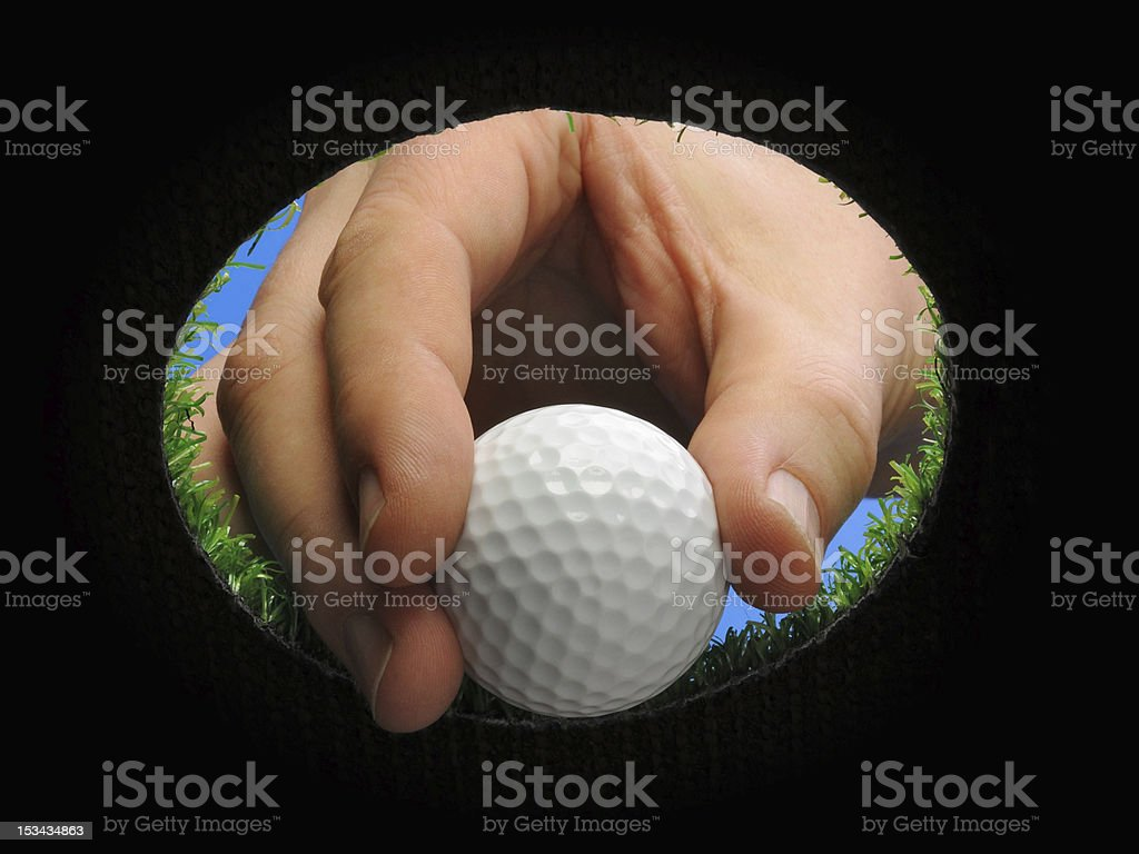 hand holding golf ball royalty-free stock photo
