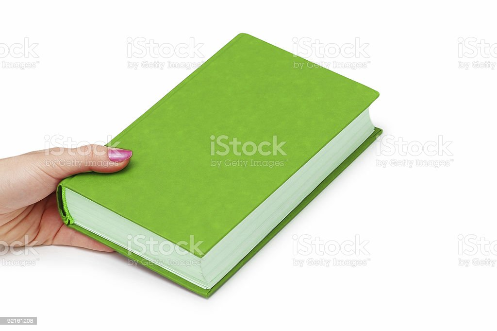 Hand holding green book isolated on white royalty-free stock photo