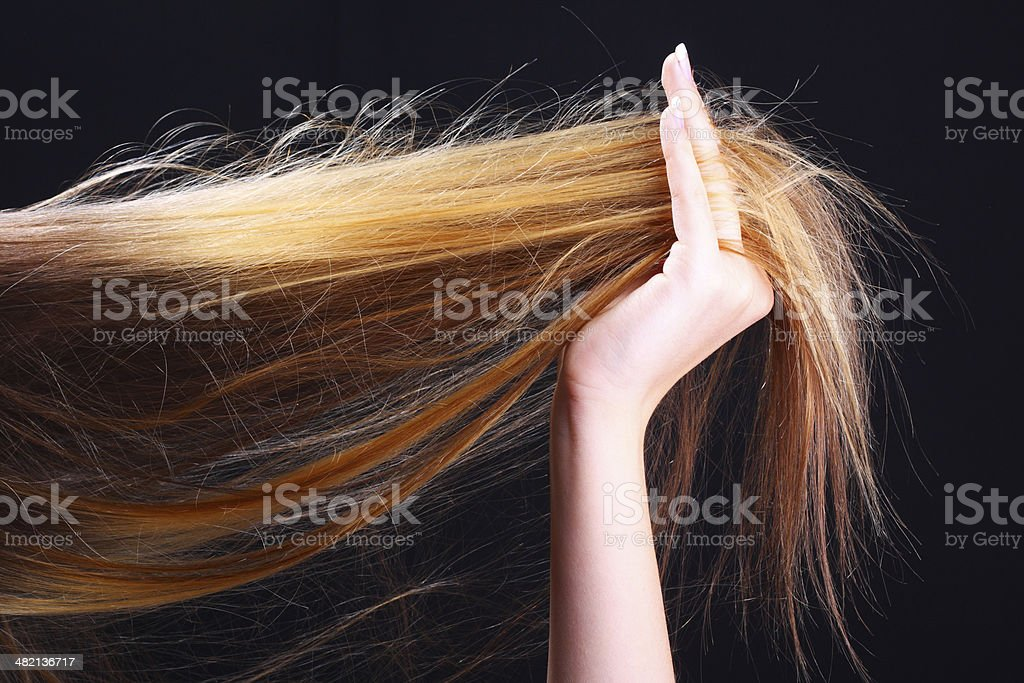 Hand holding hair. Hairstyle stock photo