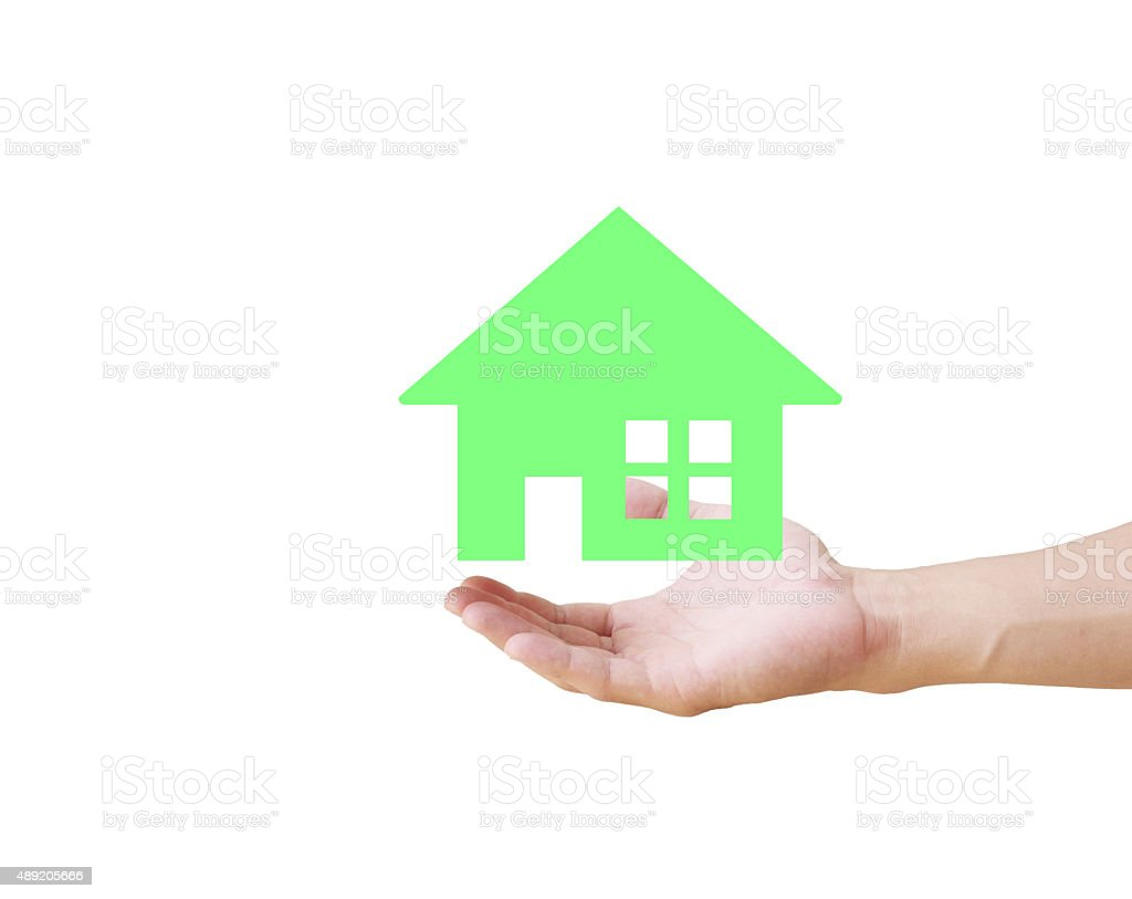 Hand holding house stock photo