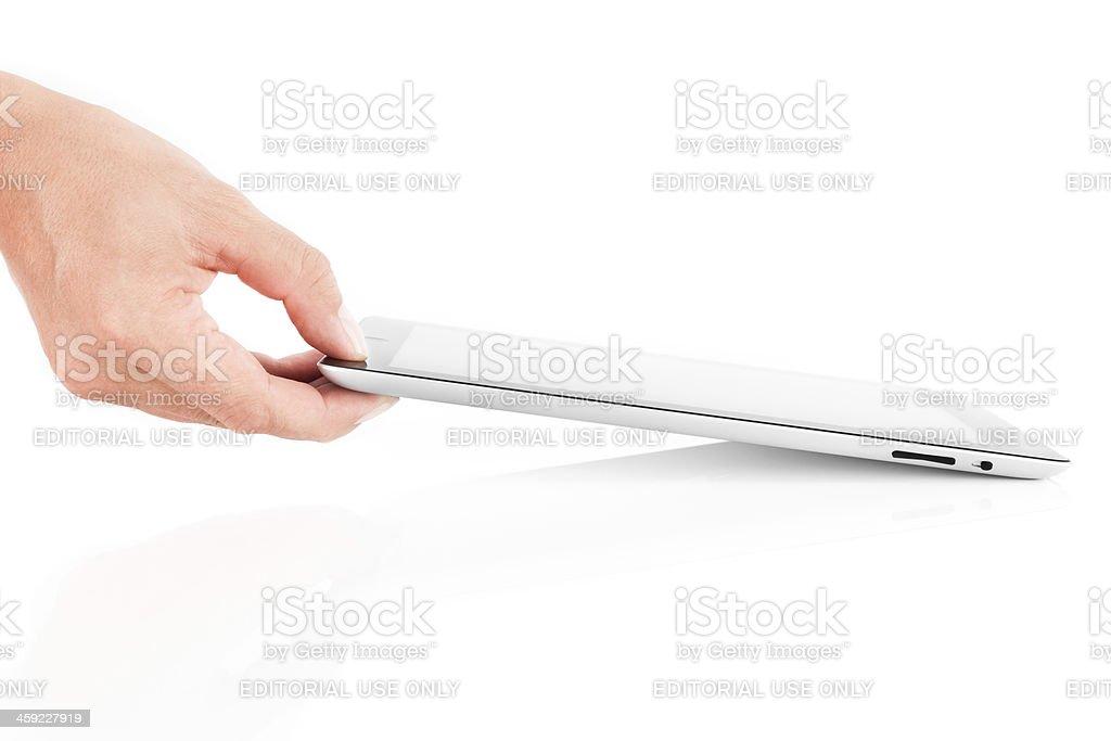 Hand Holding iPad 2 stock photo