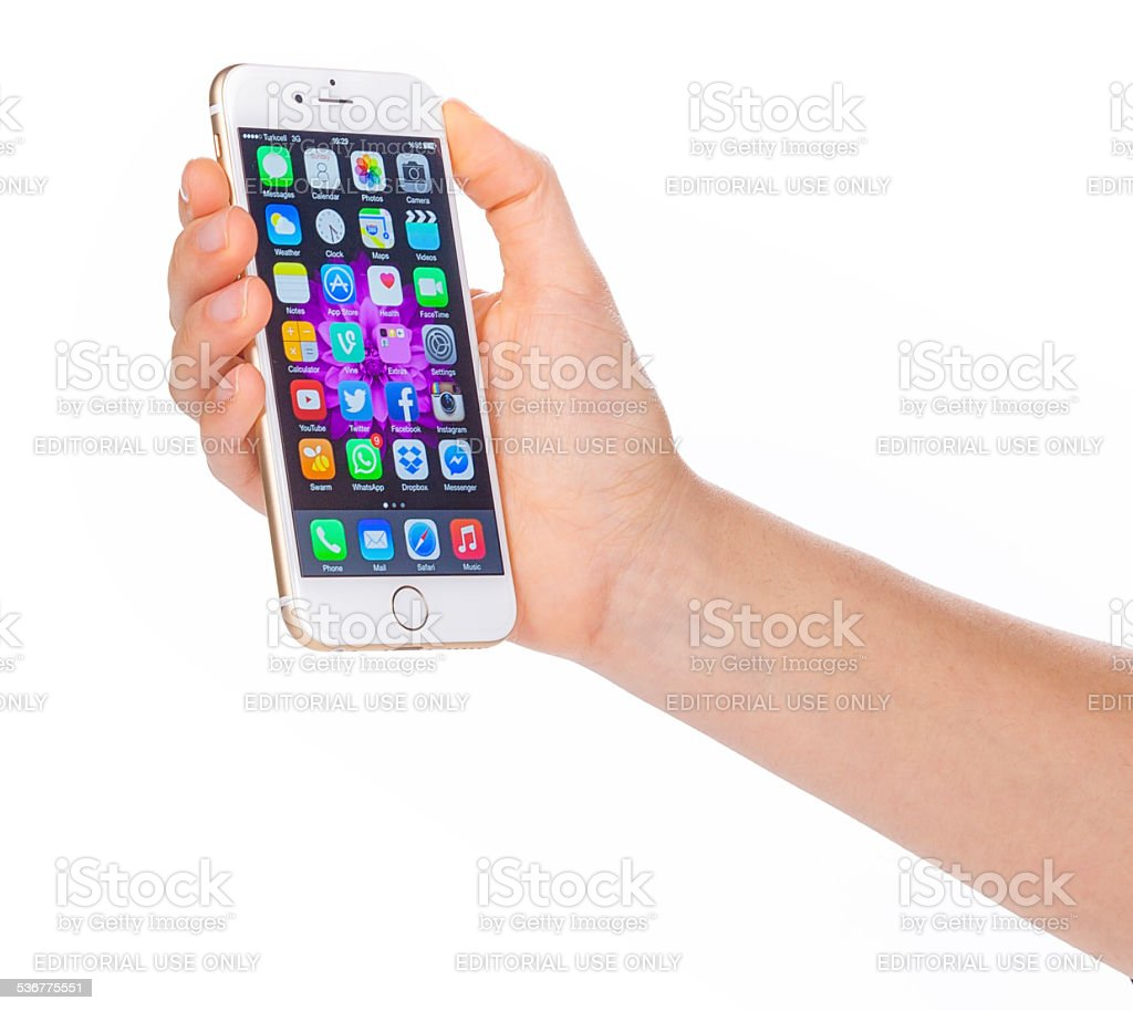 Hand holding Iphone 6 stock photo