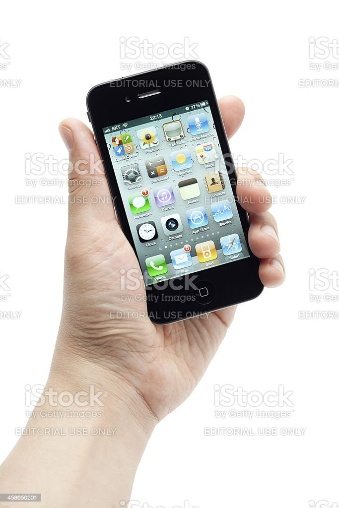 Hand holding iPhone royalty-free stock photo