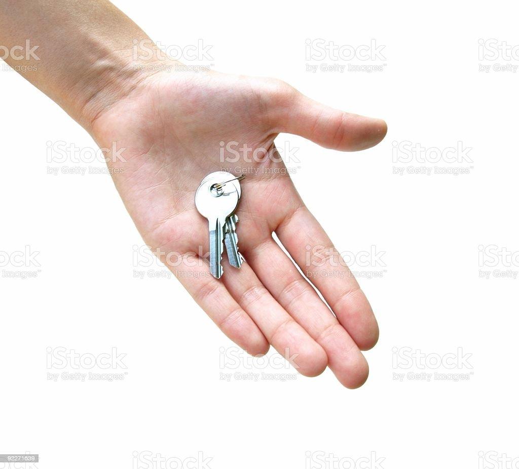 Hand holding keys. stock photo