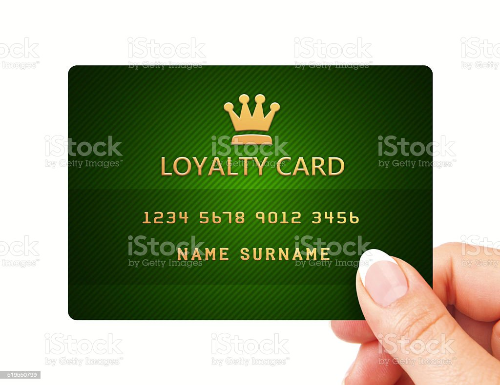 hand holding loyalty card isolated over white stock photo