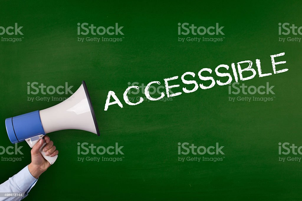 Hand Holding Megaphone with ACCESSIBLE Announcement stock photo