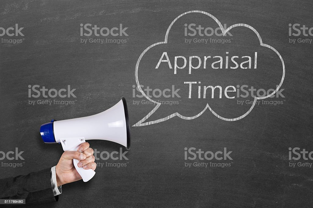 Hand holding megaphone with Appraisal Time announcement stock photo