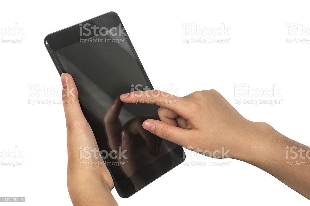Hand holding mini tablet royalty-free stock photo