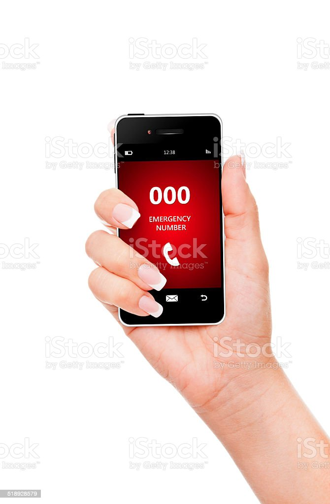 hand holding mobile phone emergency number 000 isolated over whi stock photo