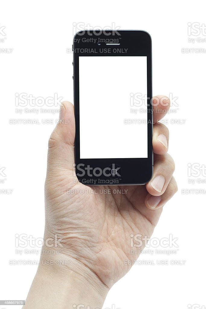 Hand holding mobile phone royalty-free stock photo