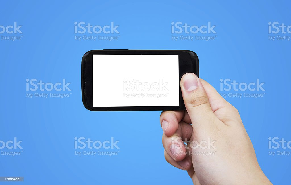Hand holding mobile phone. Smartphone with blank display royalty-free stock photo