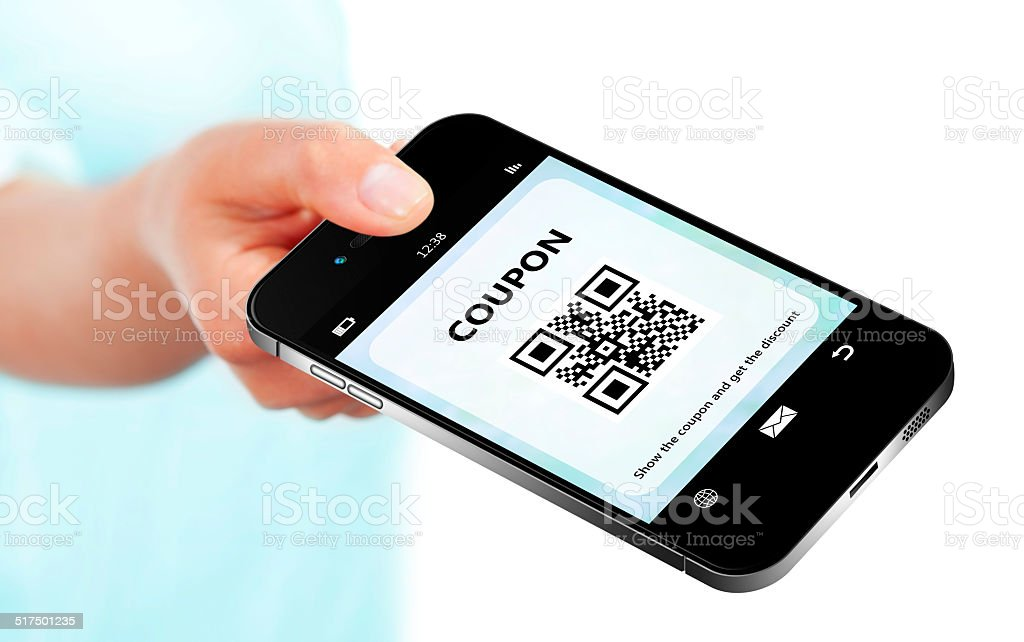 hand holding mobile phone with discount coupon isolated over whi stock photo