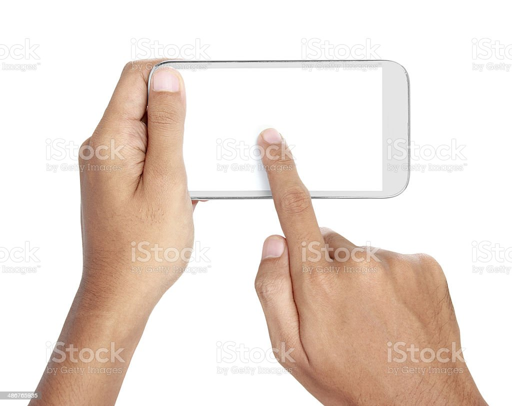 Hand holding mobile smart phone with blank screen royalty-free stock photo