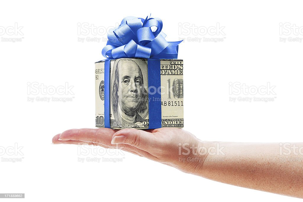 Hand Holding Money Cash Gift with Blue Bow on White stock photo