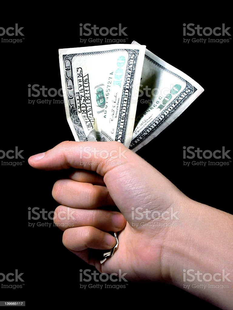 Hand holding money stock photo