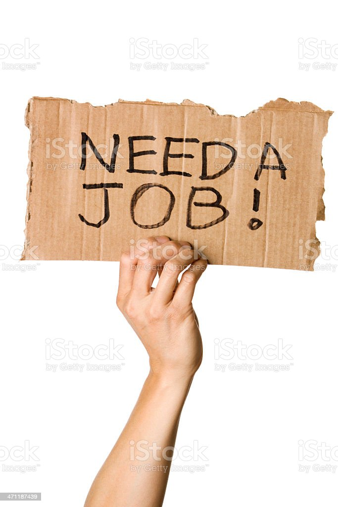 Hand Holding Need A Job Sign royalty-free stock photo