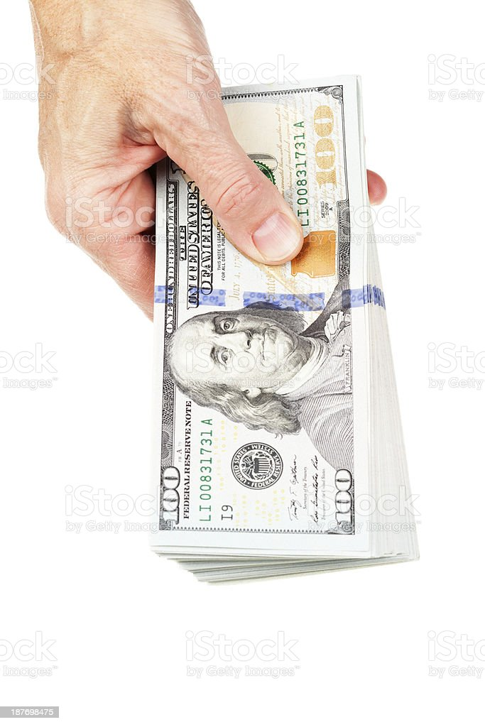 Hand Holding New US 2013 $100 Bill Stack royalty-free stock photo