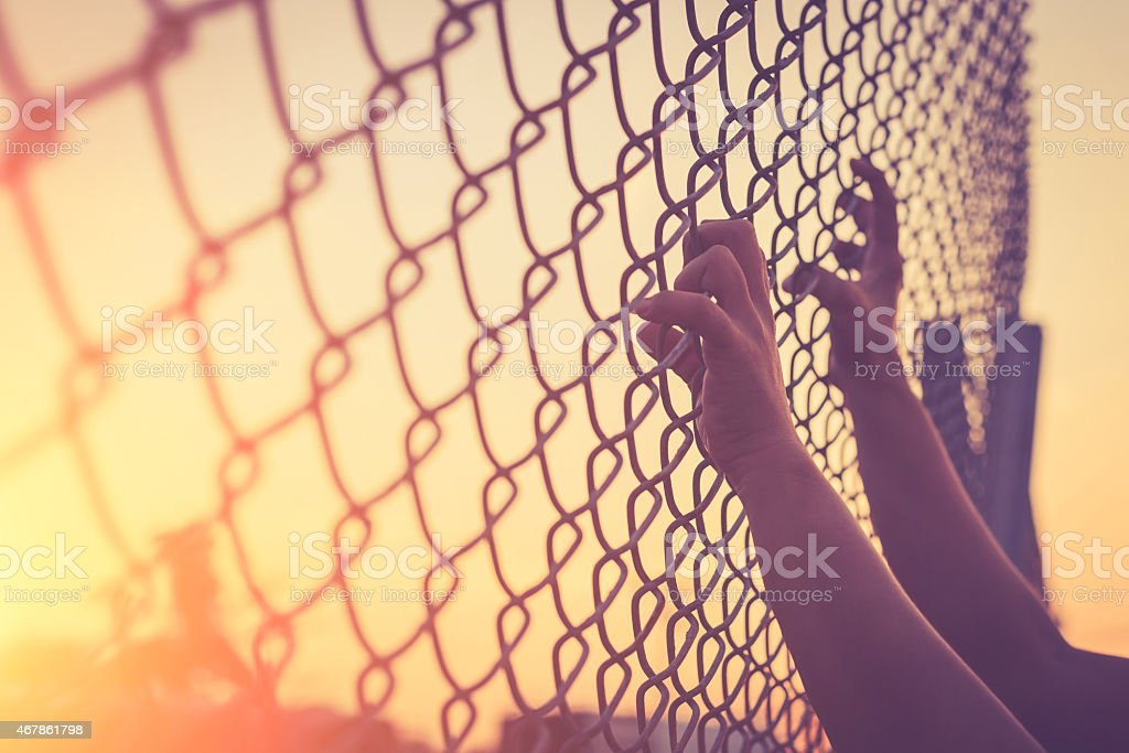 Hand holding on chain link fence stock photo
