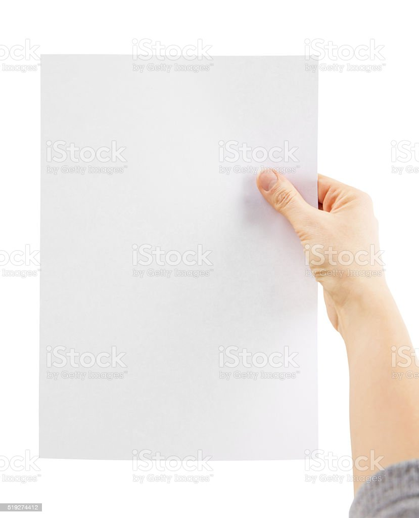 Hand holding paper, isolated on a white background stock photo