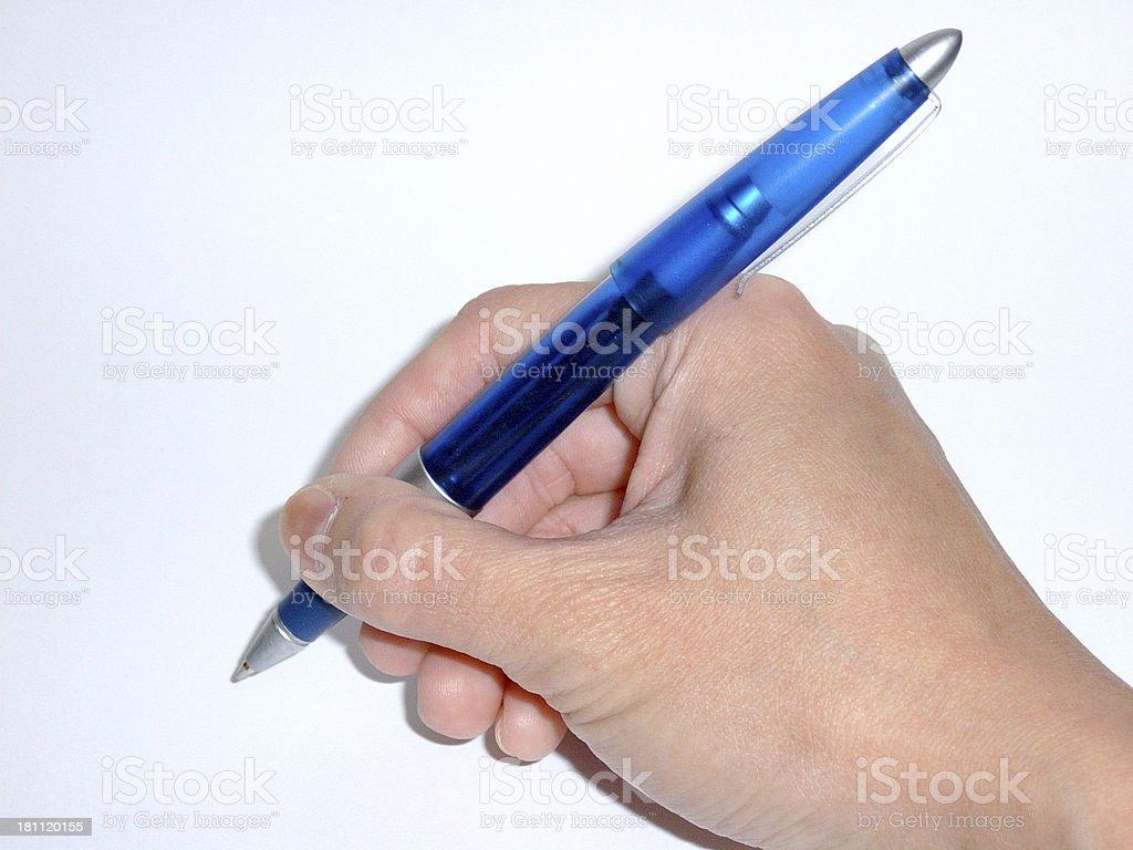 Mano agarrando lápiz foto de stock libre de derechos