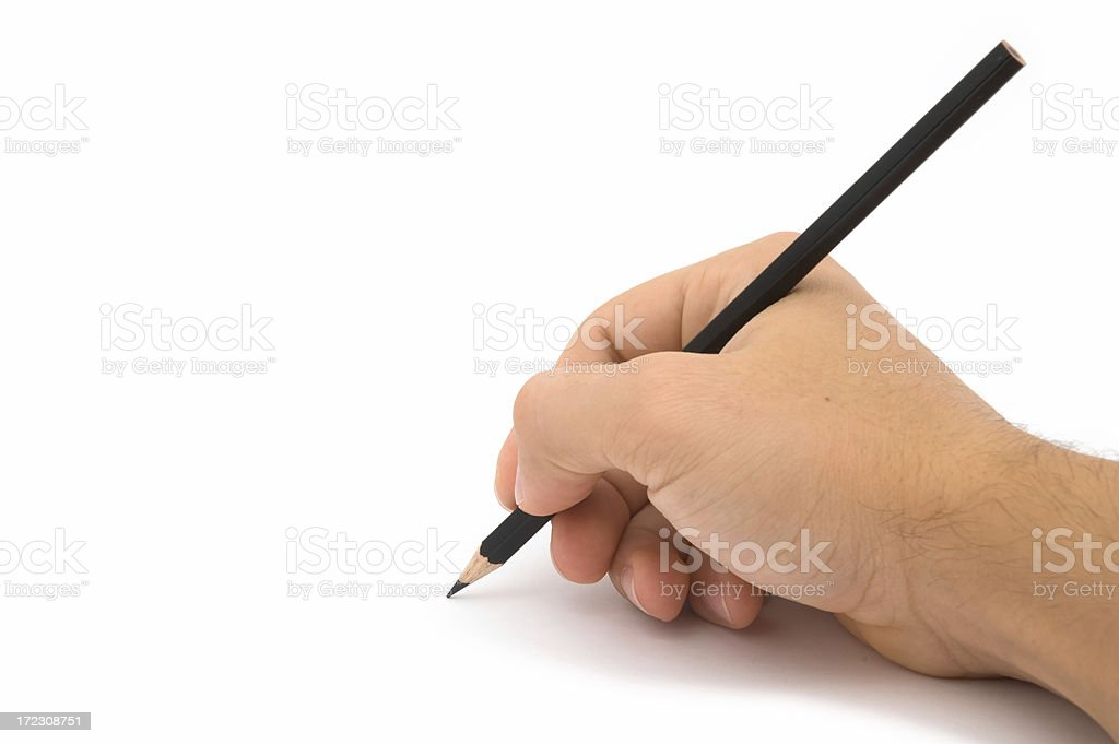 Hand holding pencil royalty-free stock photo