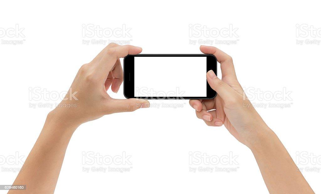 hand holding phone isolated on white background stock photo