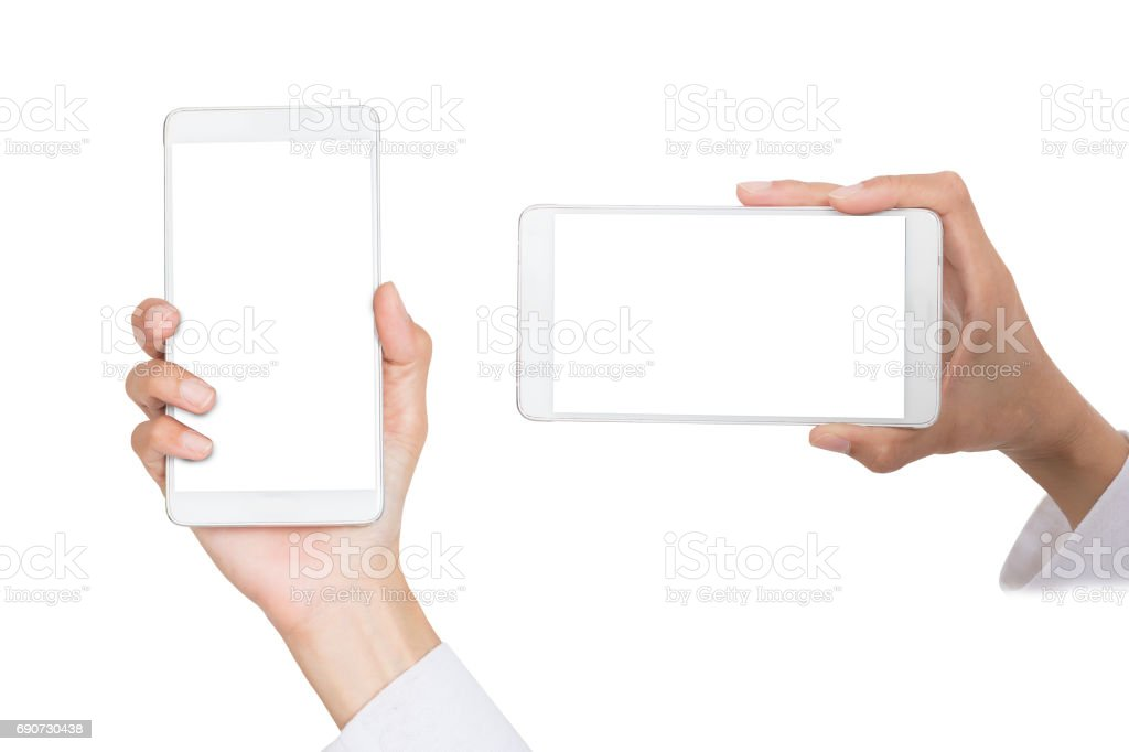 hand holding phone isolated on white stock photo