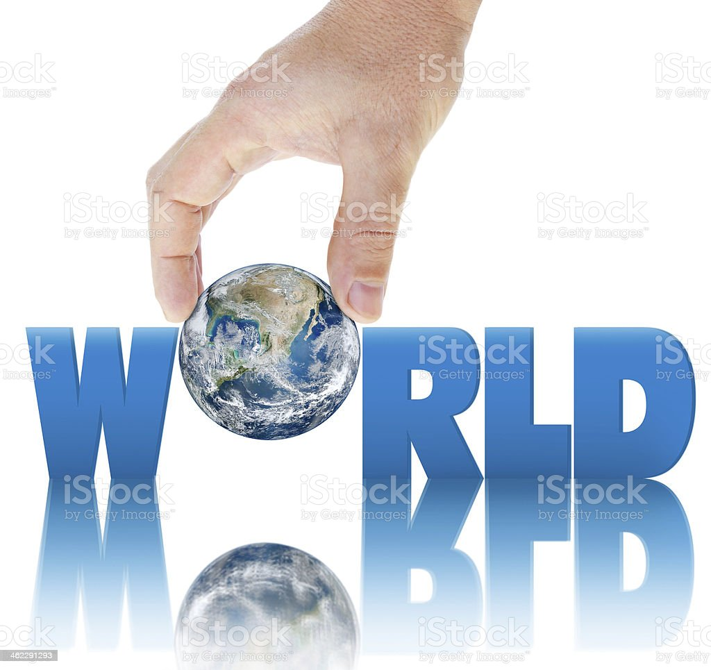 Hand holding planet Earth on  background of the inscription WORLD. stock photo