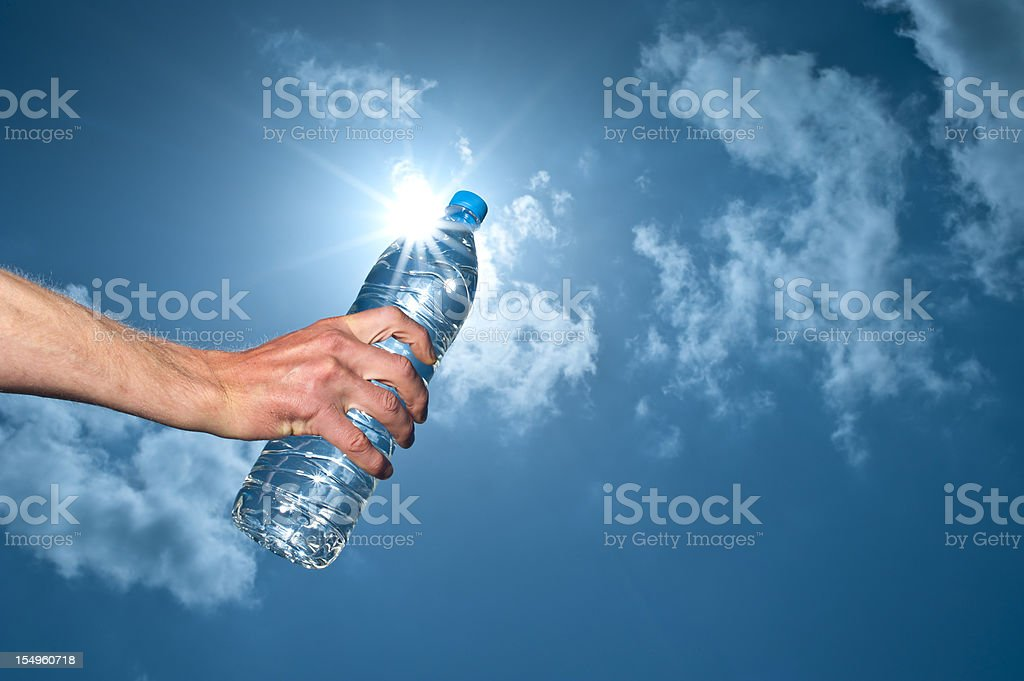 Hand Holding botle of Clear water royalty-free stock photo