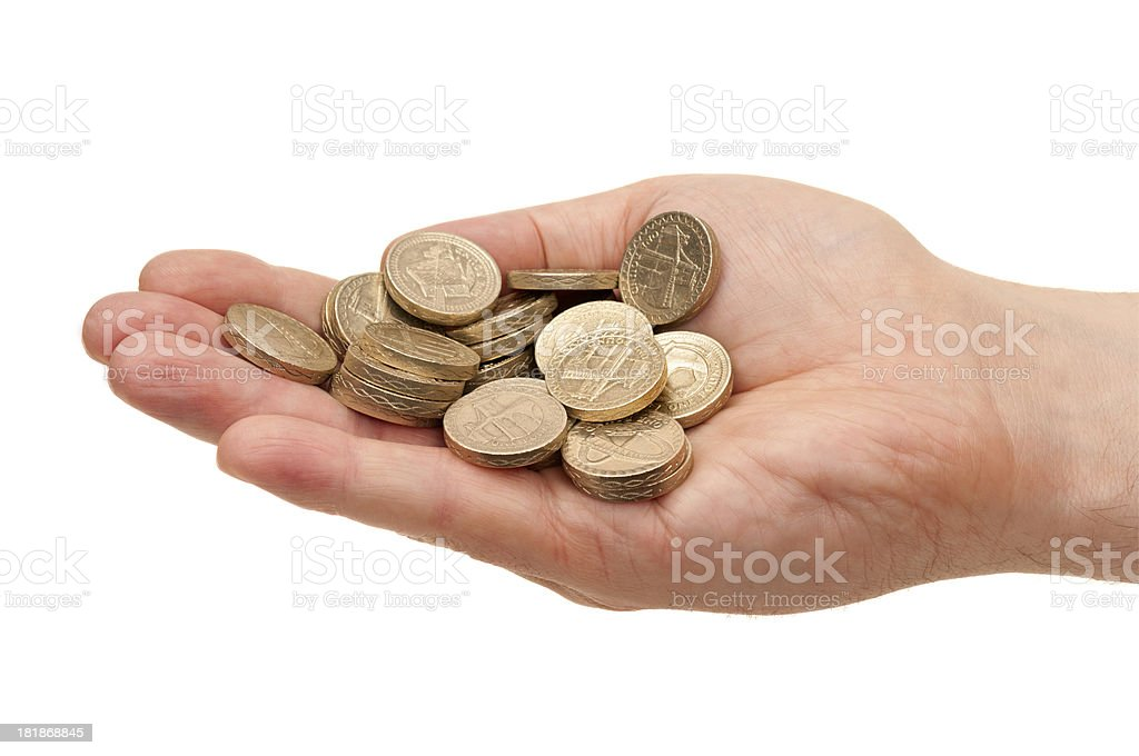 Hand holding Pound coins royalty-free stock photo
