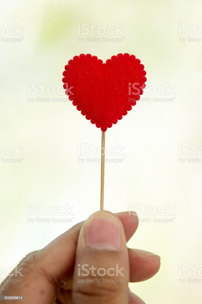 hand holding red heart stock photo
