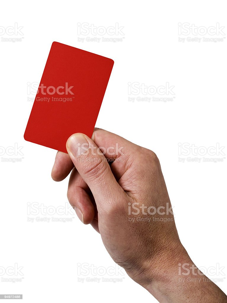 hand holding red penalty card stock photo