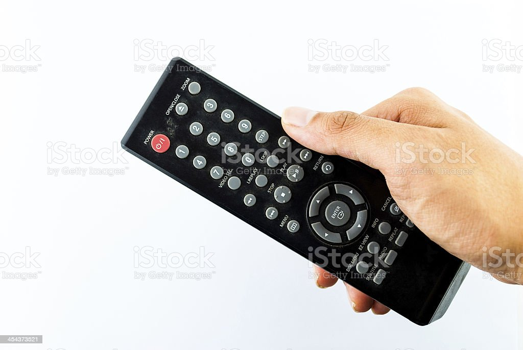 Hand holding remote console royalty-free stock photo