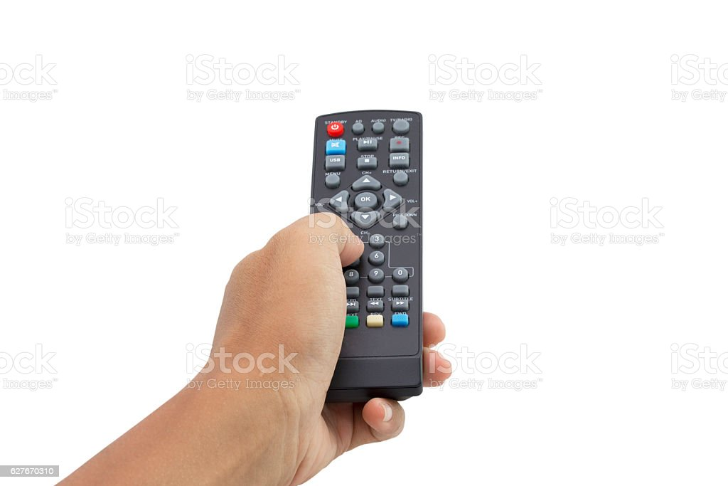 hand holding remote control isolated on white background stock photo