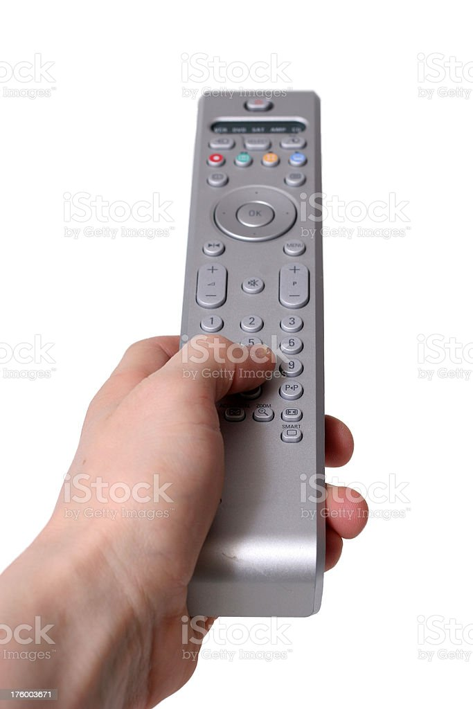 Hand holding remote control, isolated royalty-free stock photo