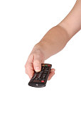 Hand holding remote control (Clipping path)